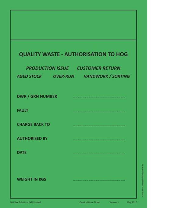 Oji Code 169 Authorisation to Hog Sticker A5 Pad