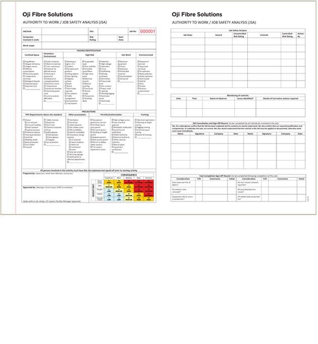 Oji Fibre Solutions Authority to Work / Job Safety Analysis (JSA)
