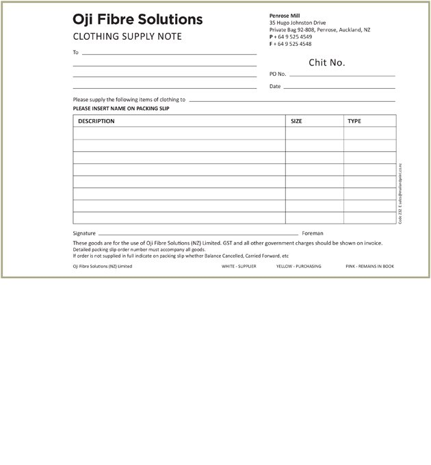 Oji Fibre Solutions Clothing Supply Note